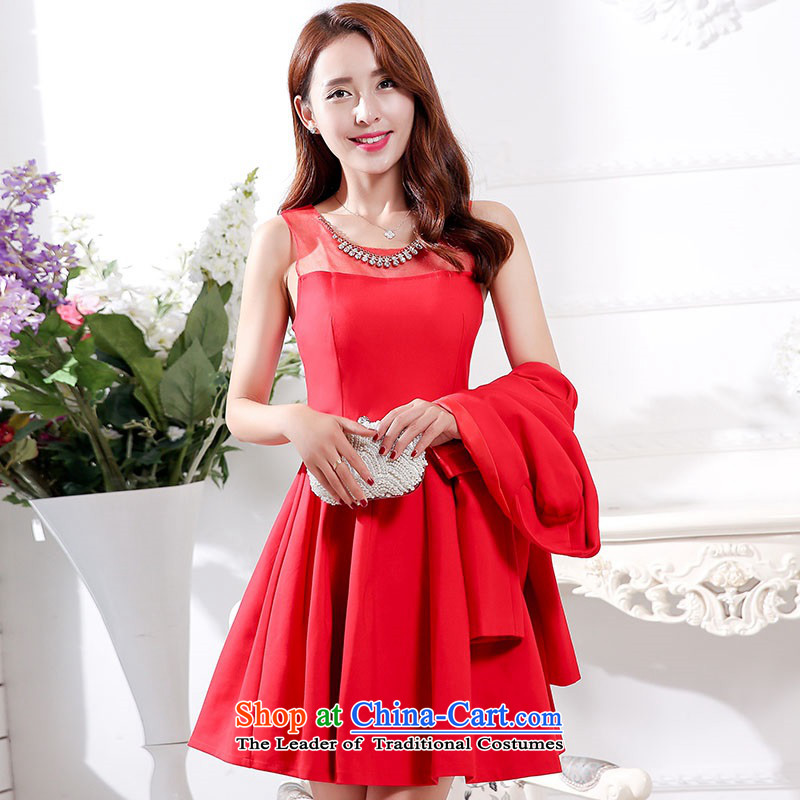 2015 Autumn and Winter Ms. new large red in the medium to long term of European root of two kits bridal dresses video thin banquet service     temperament gentlewoman bridesmaid will serve 1 red?L