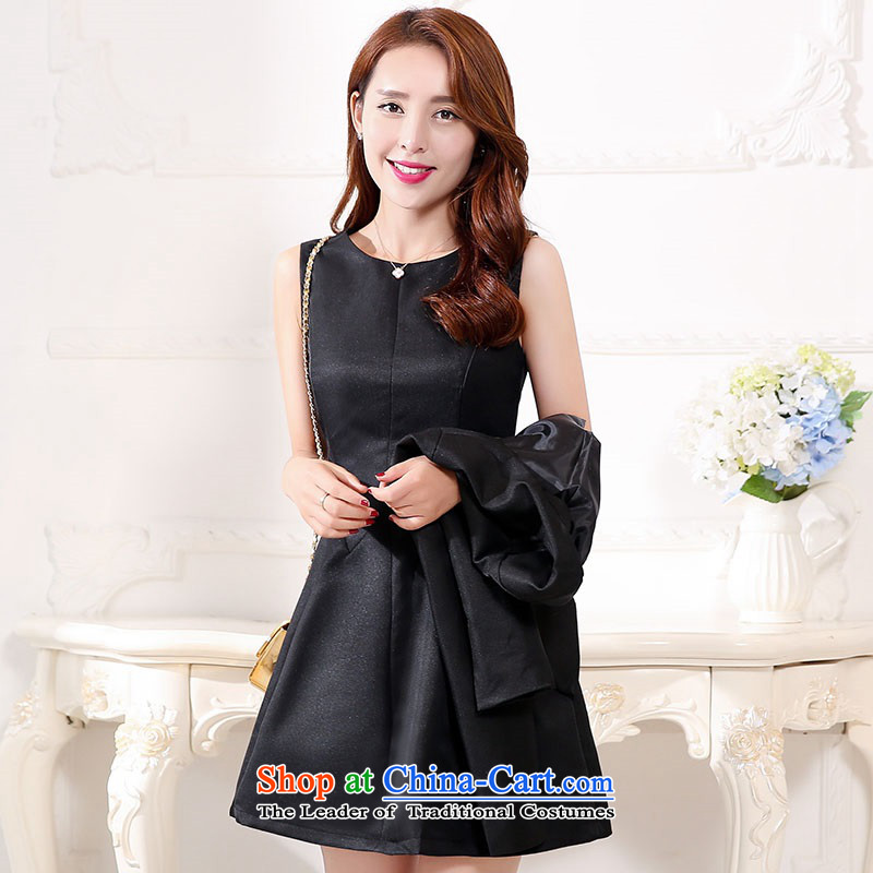 2015 Autumn and Winter Ms. new large red two kits bridal dresses Sau San video thin banquet dress jacket bride evening dresses skirts bride bows 1 black uniforms?XL