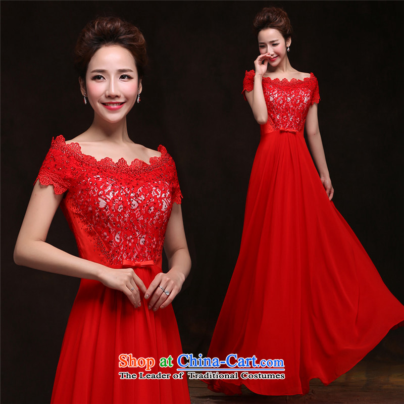 2015 Spring/Summer long HUNNZ word, the new bride dresses shoulder banquet evening dresses bows bridesmaid services services red?XXL