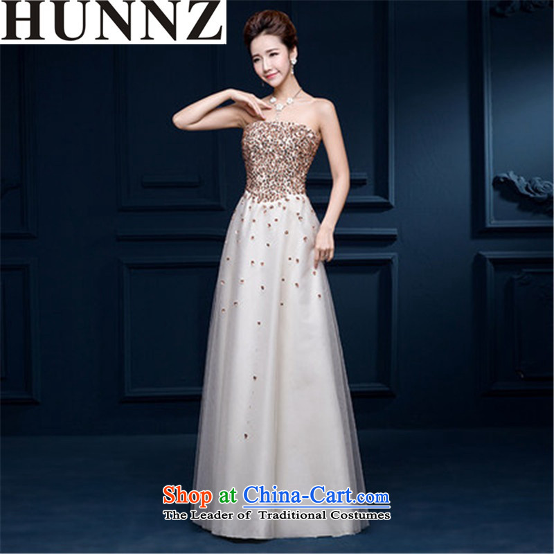 Hunnz 2015 sleeveless strap new spring and summer bridal dresses stylish evening dresses and chest service long bows champagne color?XXL