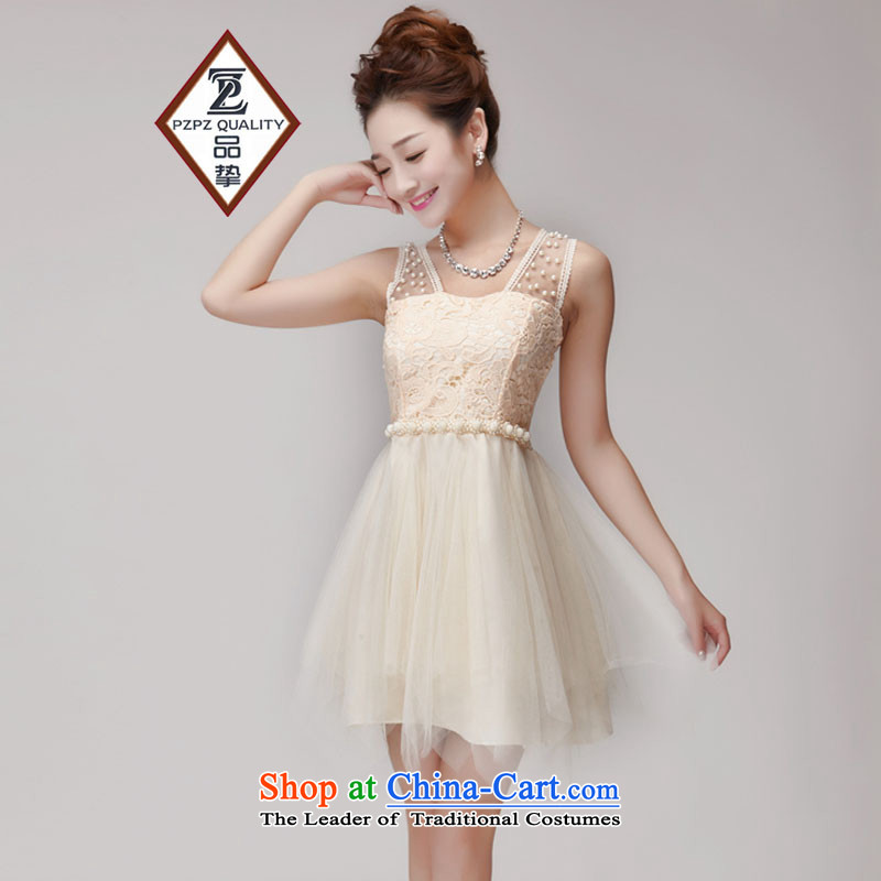 No. of 2015 lace hook spent manually staple Pearl Princess bon bon skirt elastic waist nets bridesmaid sister dress apricot are code