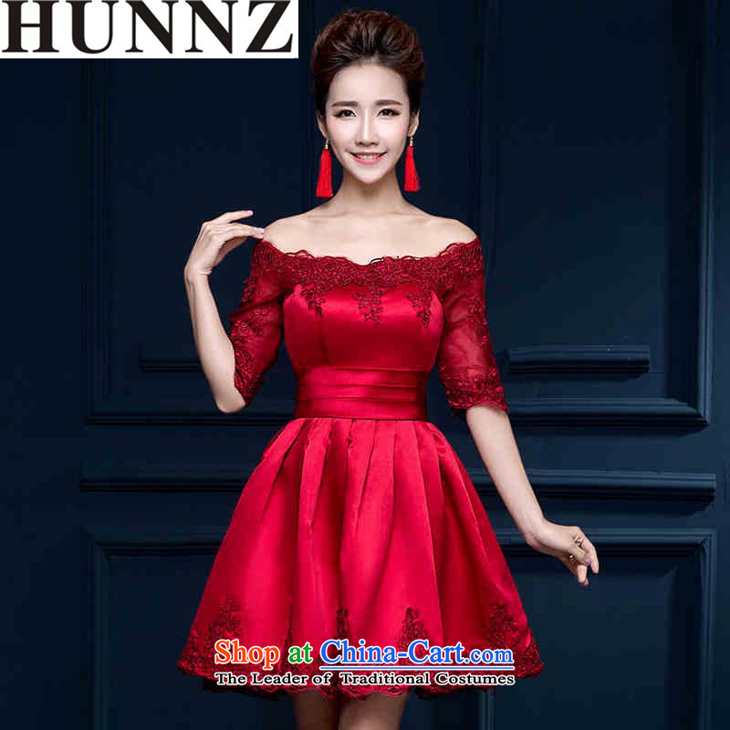 2015 Korean integrated HUNNZ WITH SHORT SLEEVES) Bride wedding dress banquet evening dresses bows serving wine red?L