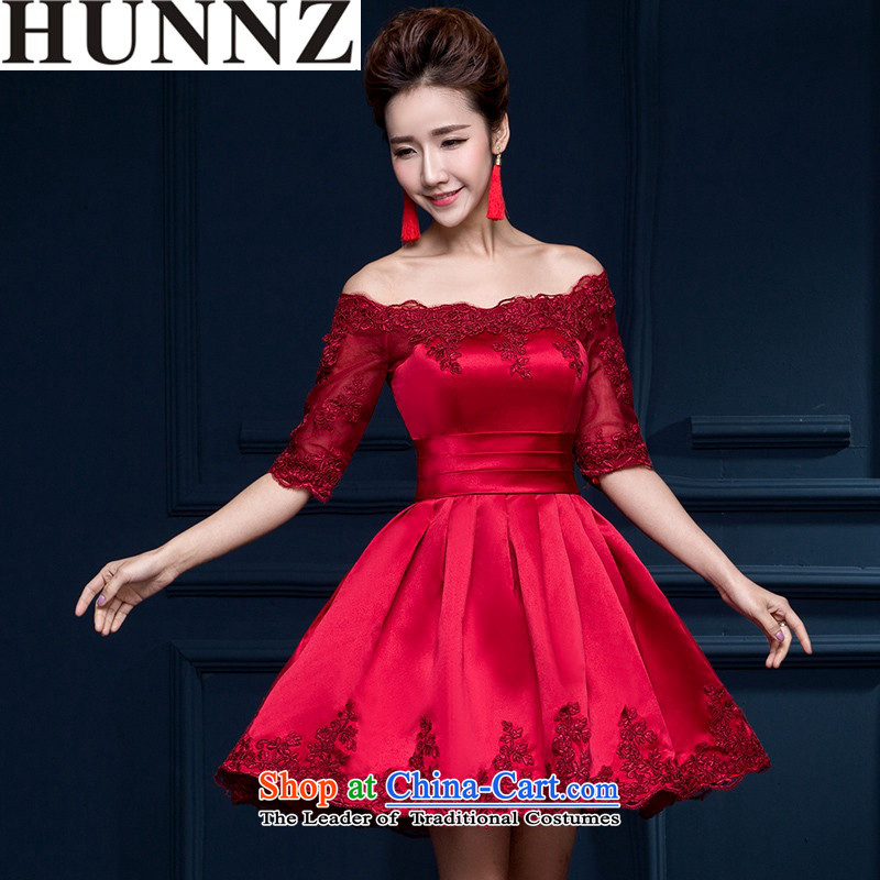 2015 Korean style of HUNNZ field shoulder larger repair service banquet bride dress toasting champagne evening dresses bridesmaid to serve in the wine red sleeved?M