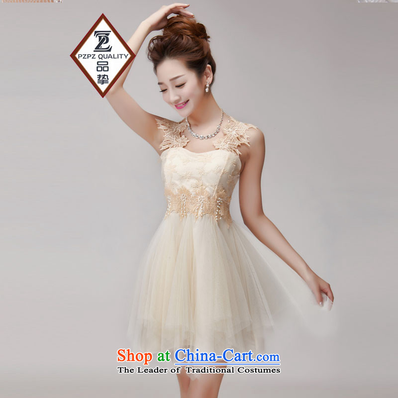 No. of 2015 hook wire manually set drill blossoms gemstone aristocratic princess foutune bon bon skirt bridesmaid sister dress apricot are code