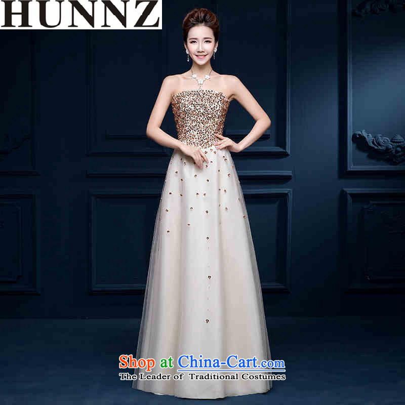 2015 Long dresses HUNNZ wiping the chest of fashionable dresses banquet bows Service Bridal evening dress White?XXL
