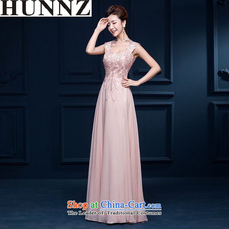 2015 Long dresses HUNNZ sexy bride wedding dress evening dresses bows bridesmaid services-Yuk-pink?XL