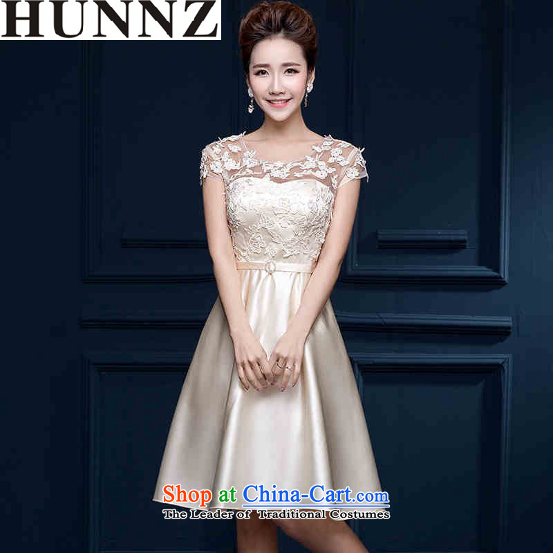 2015 Korean style of HUNNZ shoulder short) Bride field bows service banquet evening dresses bridesmaid serving champagne color?XL