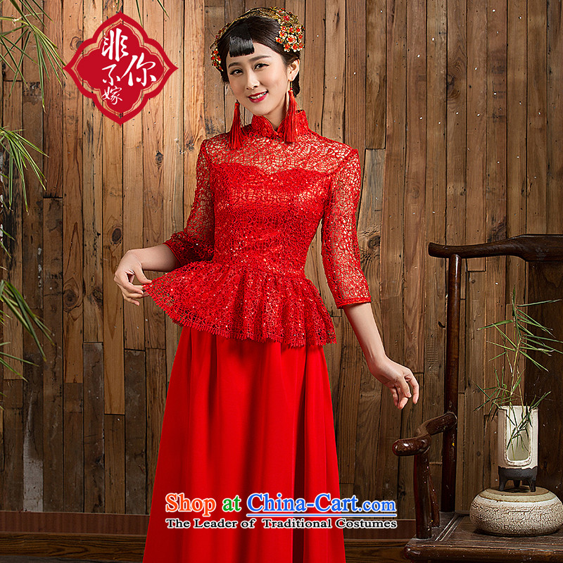 Non-you do not marry autumn 2015 7 cuff lace bows service bridal dresses Sau San long qipao retro, Wedding Dress back door onto evening dresses red 7 cuff long skirt?XXL