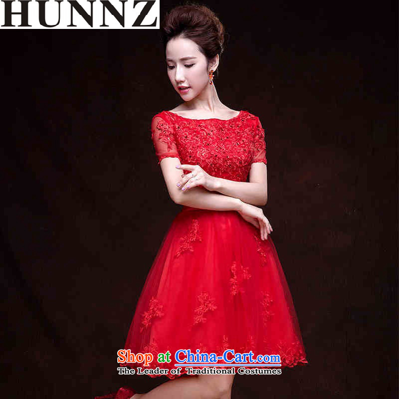?  ?Toasting champagne HUNNZ Services 2015 new spring and summer Korean brides wedding dress strap evening dress small red dress?XL