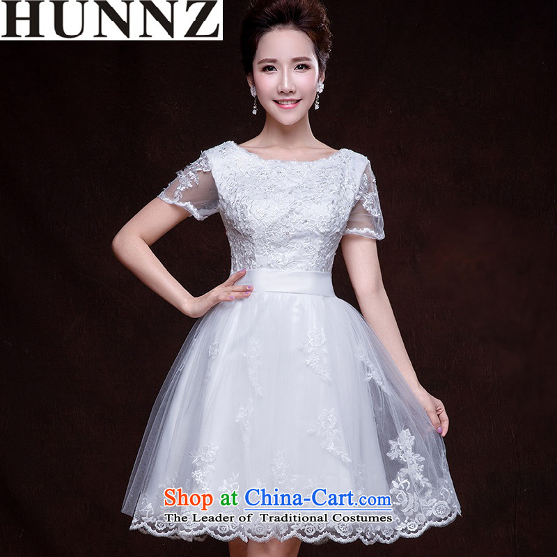 The Word 2015 HUNNZ Korean short, shoulder strap stylish wedding dress bows Service Bridal White XXL