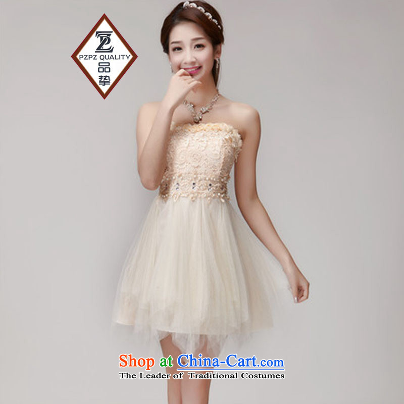 The status of the Staple manually Pearl 2015 diamond temperament and Sau San chest dresses bridesmaid groups dress skirt apricot are code
