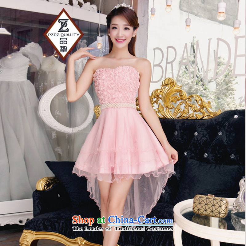 The status of the?2015 Fish people bridesmaid sister mission dress bare shoulders and stylish lace temperament Sau San booking pearl pink dresses are code