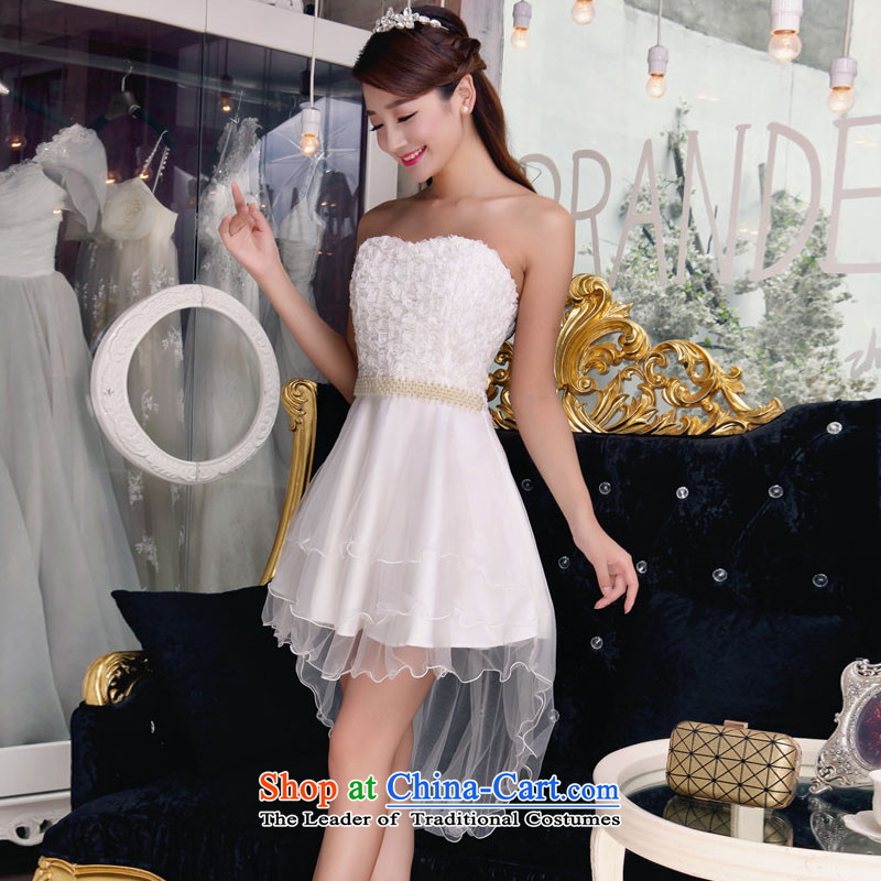 Andro ya 2015 bridesmaid sister mission dress fish people bare shoulders and stylish lace temperament Sau San booking pearl dresses apricot?L