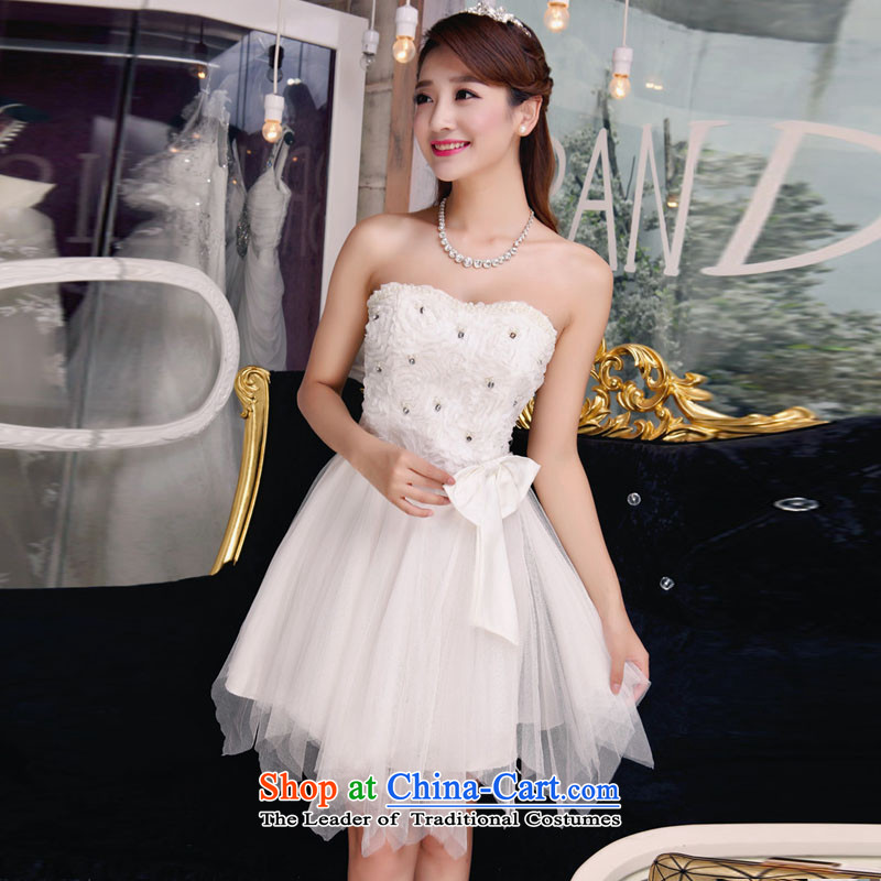 Andro ya 2015 bridesmaid sister dress bare shoulders and stylish lace temperament Sau San booking pearl white dresses?L
