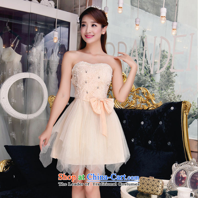 No. of 2015 bridesmaid sister dress bare shoulders and stylish lace temperament Sau San booking pearl dresses apricot?L
