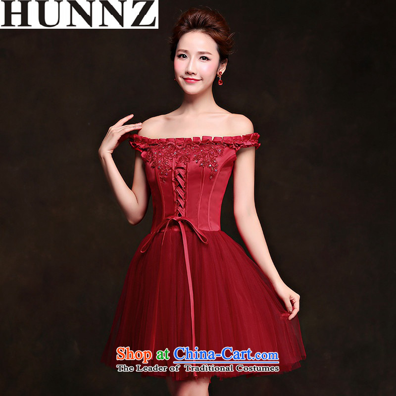 2015 service banquet HUNNZ toasting champagne evening dress bride wedding dress Korean word shoulder wine red wine red?L
