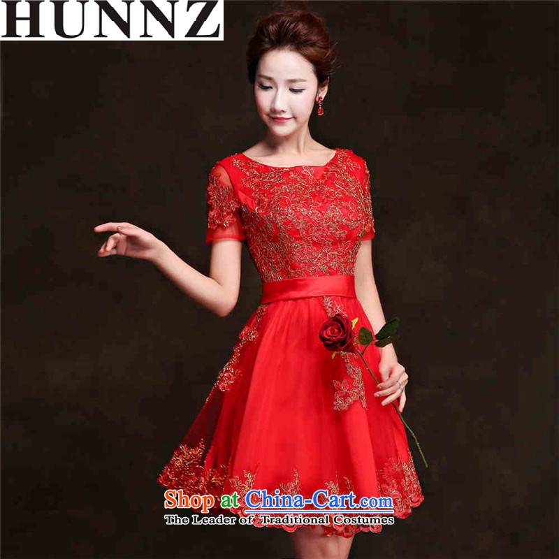 2015 Short of Korea HUNNZ word-shoulder banquet evening dresses bride dress lace straps lace short,?XXL