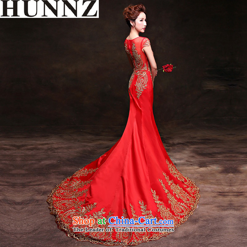 ?    ?Toasting champagne HUNNZ Services 2015 long drag elegant word, shoulder the bride wedding dress banquet dress red?XXL