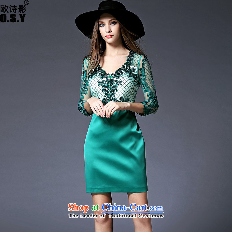 The OSCE Poetry Film 2015 new women's seven-Sleeve V-Neck banquet night replacing the door onto dress bridesmaid to marry heavy industry for the Pearl River Delta embroidered bride bows to the skirt green�M