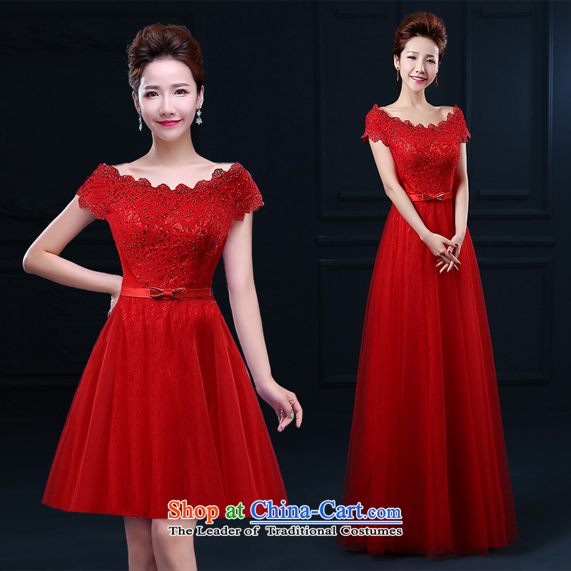2015 Korean short HUNNZ, pure color word stylish shoulder bride dress bridesmaid serving evening dress short of red?L