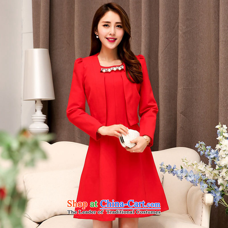 2015 Autumn and Winter Ms. new large red two kits bridal dresses evening dresses temperament Sau San video thin bride skirt Princess Bride stylish bows services Skirts 1 red聽XXL