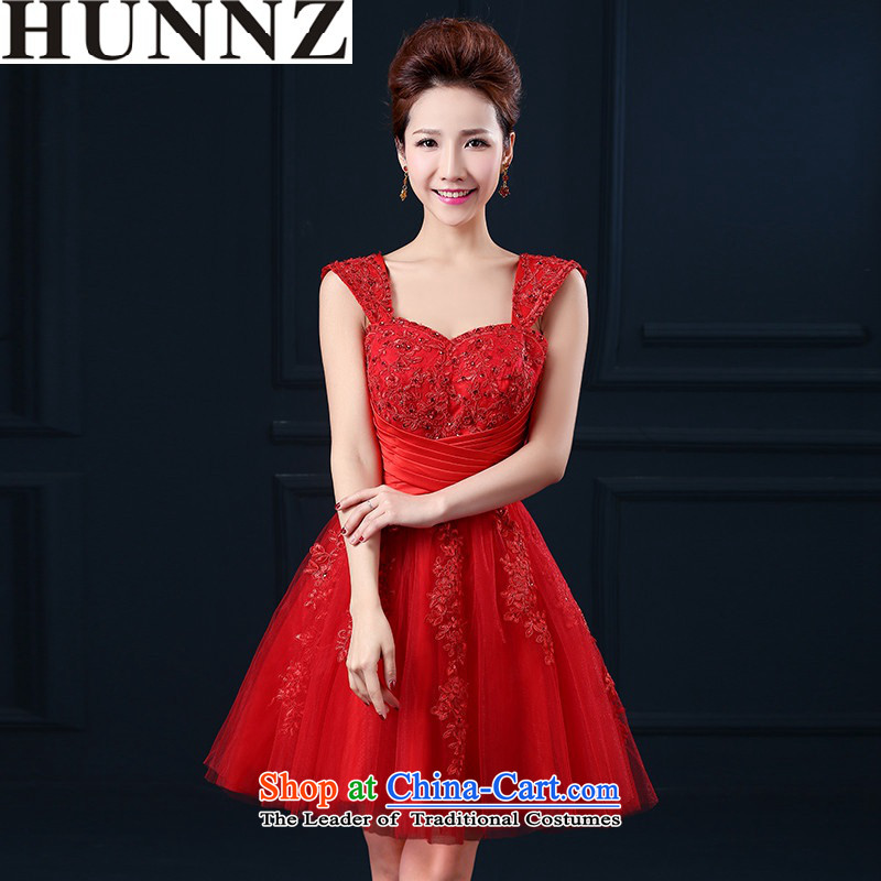2015 HUNNZ lace stylish new spring and summer bride dress bows bridesmaid services services straps, Red?S