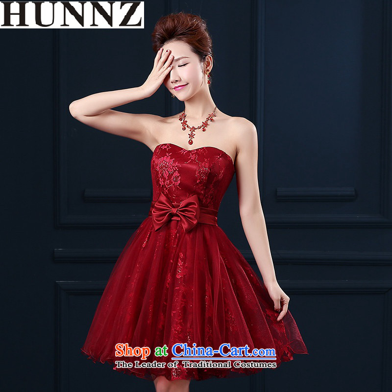?   ?Toasting Champagne Services 2015 new HUNNZ stylish wedding dress short of bride sweet anointed chest bridesmaid serving wine red?M