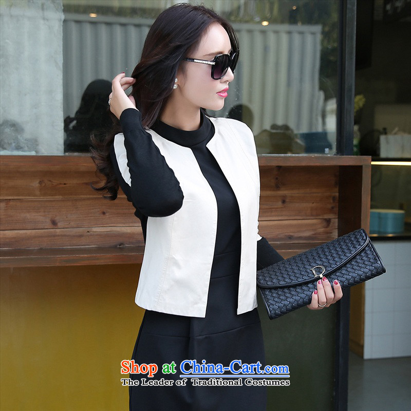 The 2015 autumn and winter new women's two kits dresses temperament long-sleeved OL Kit Sau San skirt early autumn leather jacket pure color small Heung-dresses 2 White?XL