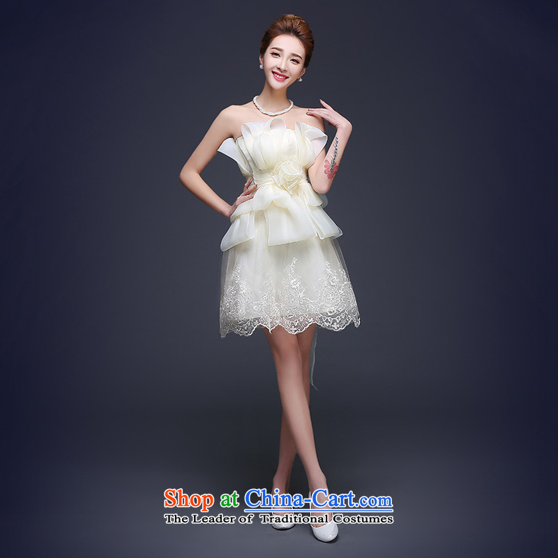 2015 Autumn and winter new dresses and sexy anointed chest bride bows service, service and bridesmaid chest marriage small dress White M standard code for Sau San 3-5 day shipping._