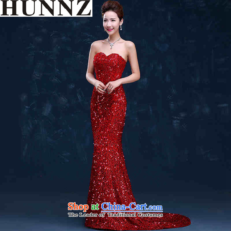 ?   ?Toasting Champagne Services 2015 new HUNNZ stylish long strap and chest bride wedding dress evening dresses red drag to?XXL