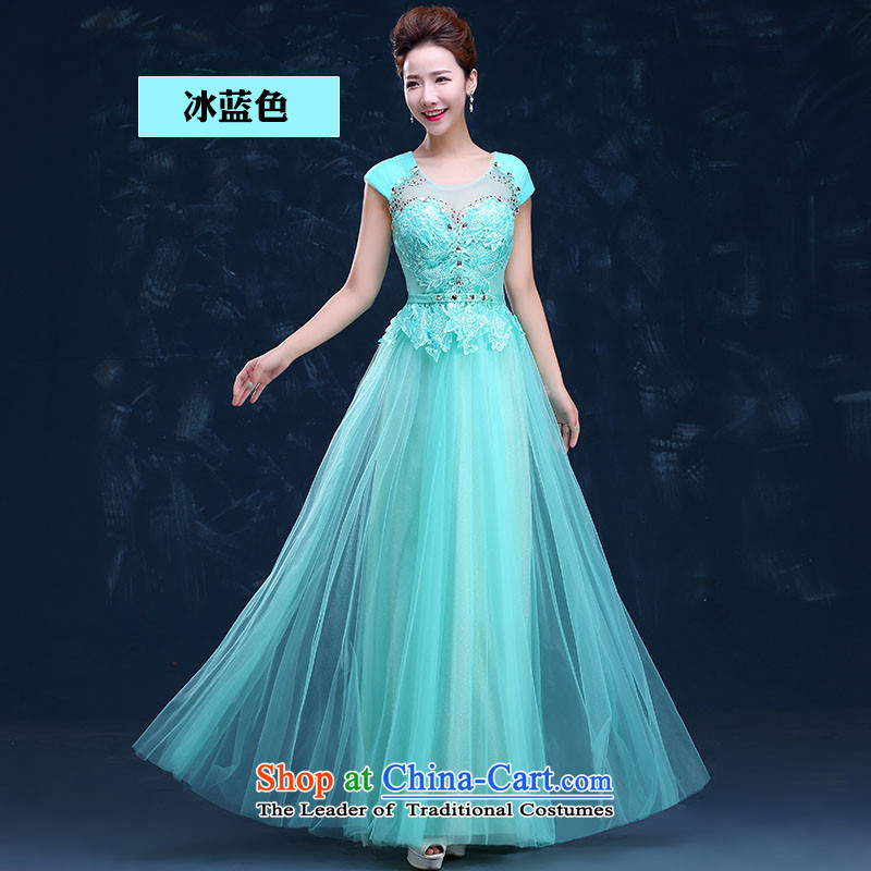 2015 Long sleek HUNNZ slotted shoulder solid color new spring and summer wedding dress bows Service Bridal Blue ice?S