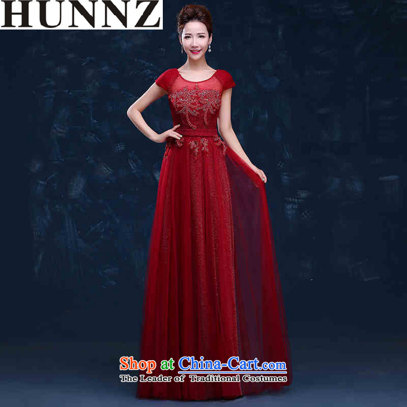 ?   ?Toasting champagne HUNNZ Services 2015 new spring and summer trendy first field shoulder lace long evening dress bridesmaid services deep red?XL