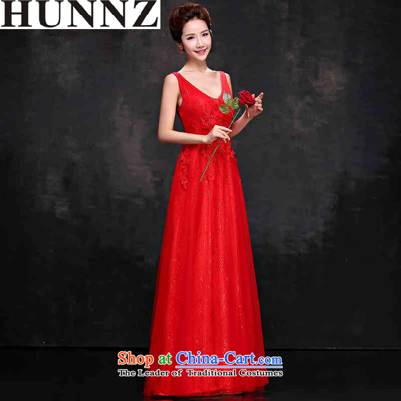 2015 Korean-style HUNNZ V-Neck stylish bride dress evening dress bows service banquet lace long sleeveless RED?M