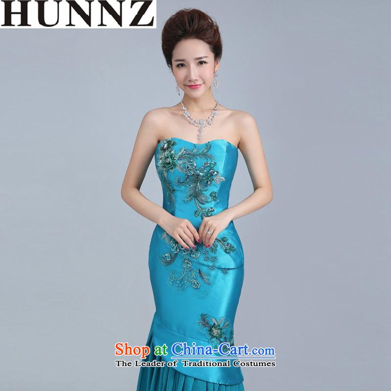 2015 Long retro HUNNZ bride wedding dress banquet dinner dress uniform larger women toasting champagne blue lagoon?XXL