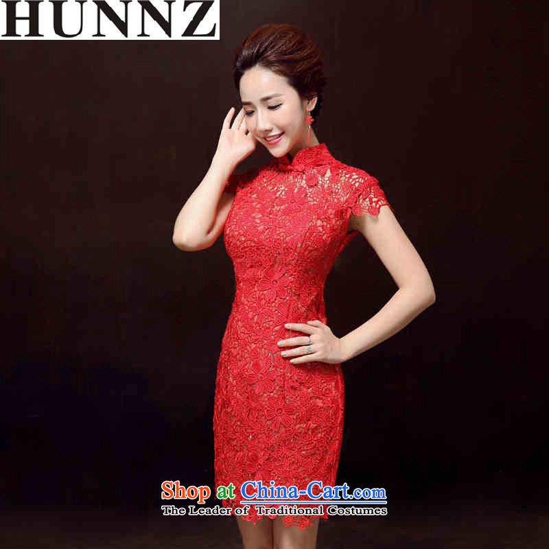 ?   ?Toasting champagne HUNNZ services bridesmaid services 2015 Spring_Summer new retro long gown dress bride red short_?S