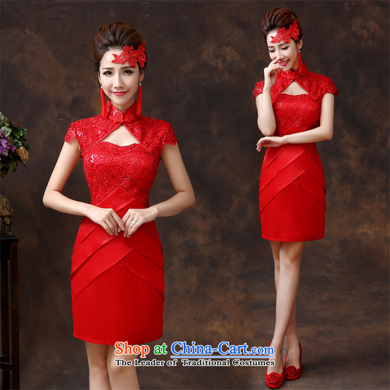 2015 Short of HUNNZ spring and summer bride wedding dress is simple and stylish large banquet evening dresses red?L