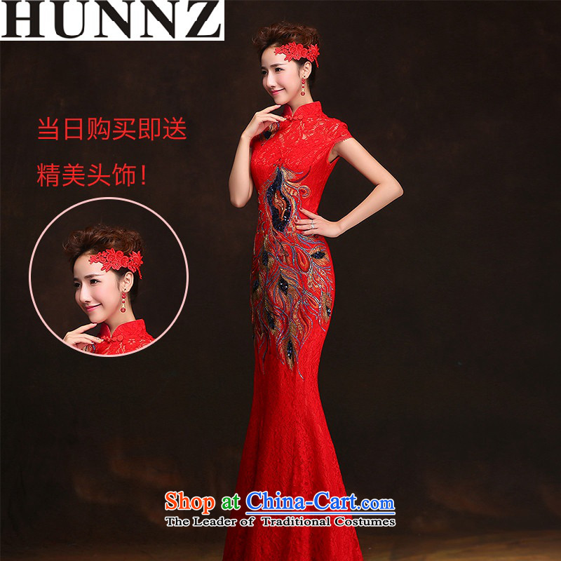 2015 Long dresses HUNNZ retro floral bride wedding dress spring and summer new bows services red?L