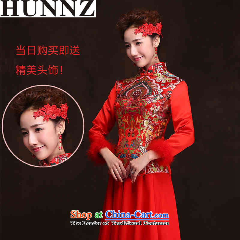 2015 Red long HUNNZ Bridal Services large retro bows banquet evening dresses bridesmaid services red聽XXL