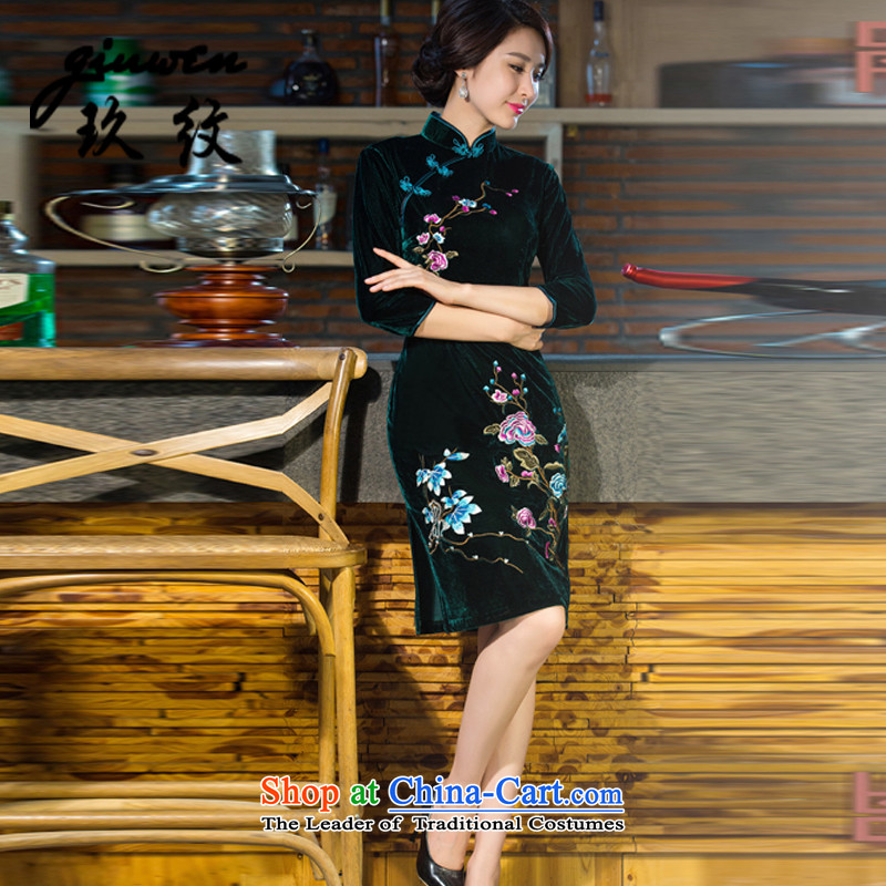 The new term of mother Ko Yo replace Kim scouring pads in the establishment of a long-sleeved QIPAO_ Improvement of nostalgia for the wedding N-321-9038 Army Green?M