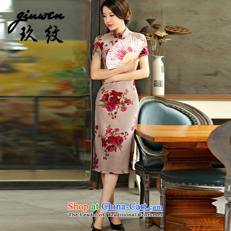 The new term of Ko Yo retro graphics in Short Thin Sau San large cuff improved linen long skirt N-321-9007 cheongsam pink?M