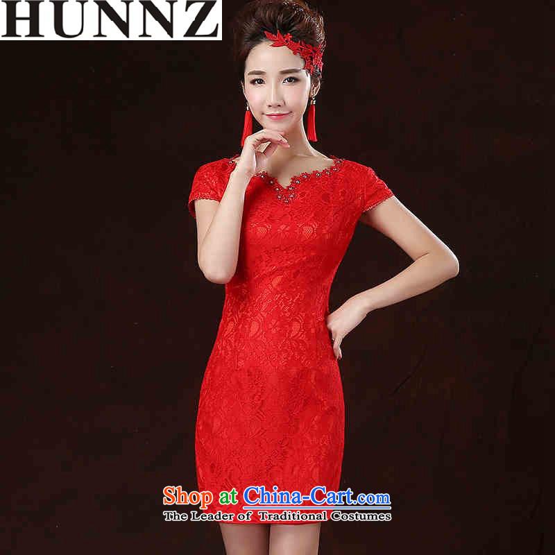 2015 National wind short HUNNZ, floral bride wedding dress bows to red, red short Sau San?L