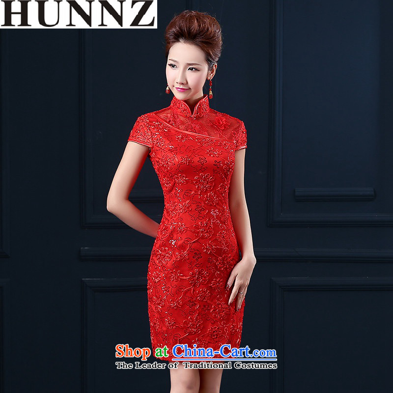 ?   ?The Bride Dress Short HUNNZ 2015_ followed suit retro services banquet dinner dress is simple and stylish red?XL