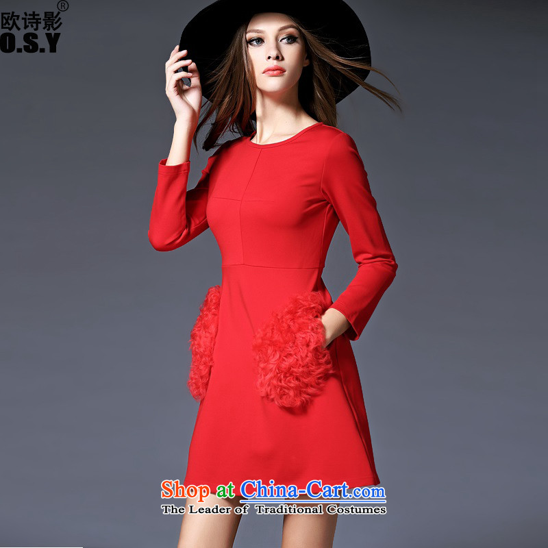 The OSCE Poetry Film 2015 Fall_Winter Collections of new products in women's temperament Foutune of wool pocket stitching long-sleeved A skirt red marriage bows dress skirt bridesmaid back to door onto Red?XL