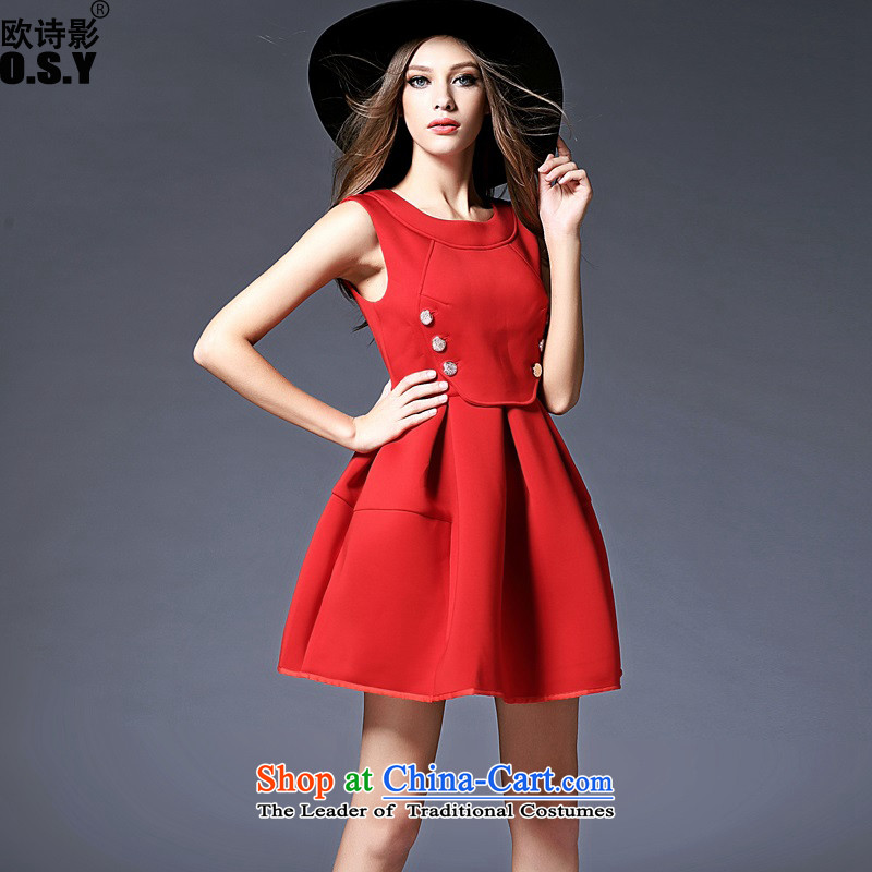The OSCE Poetry Film 2015 autumn and winter new product round-neck collar vest skirt temperament bon bon skirt red wedding dress skirt bridesmaid dresses back door onto Red M