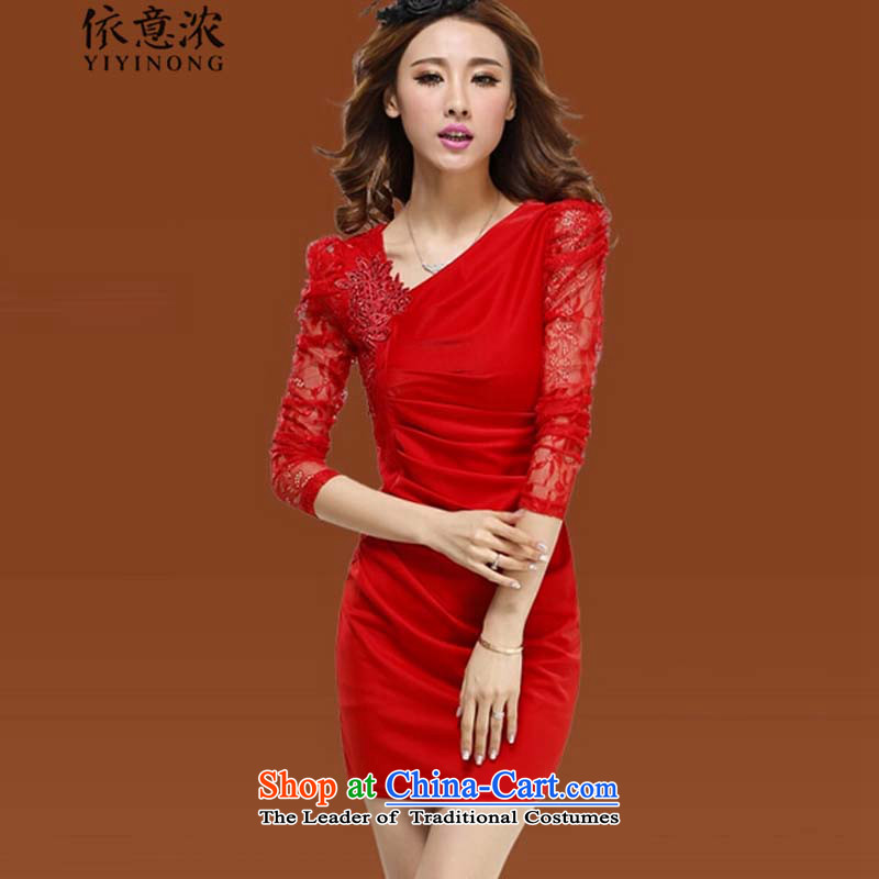 In accordance with the meaning strong? women's autumn 6219_2015 bride skirt bows to skirt dress lace cuff dresses are Code Red