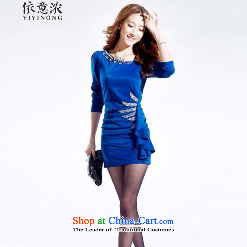 In accordance with the intention is thicker? 322_2015 autumn pack and nightclubs dresses and sexy Korean commuter OL temperament, forming the skirt and skinny video blue dress?L