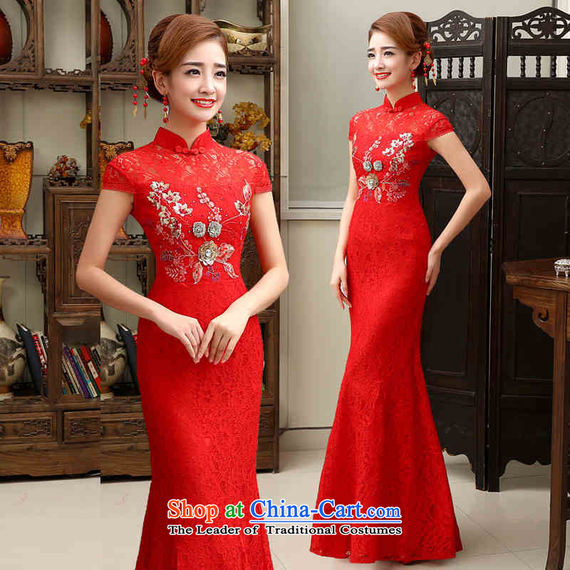 2015 new retro HANNIZI long saika bride wedding dress bows services banquet evening dresses red red?S