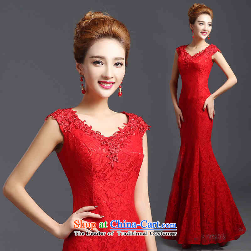 2015 Chief toasting champagne HUNNZ_ red ethnic bride wedding dress banquet evening dresses red聽S