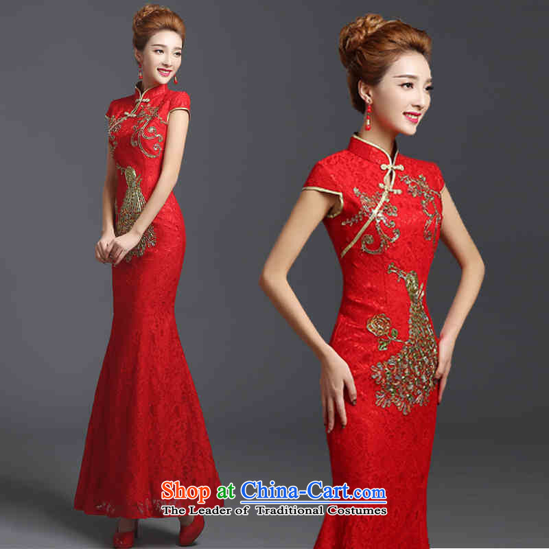 2015 Long dresses HUNNZ bows services bridesmaid services red chidori of ethnic bride wedding dress red?L