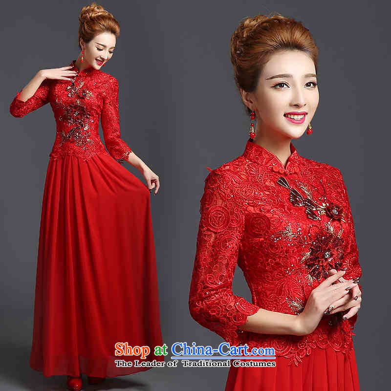Toasting champagne served by 2015 HUNNZ bridesmaid Service Bridal wedding dress red elegant floral long gown red�XXL